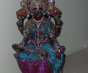 Amman decoration made with plaster of paris -  doll with stones, sequins & silk thread