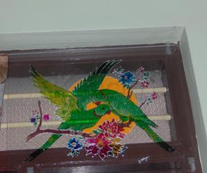 Glass painting.
