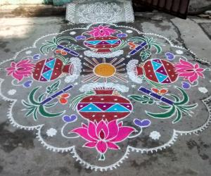 Rangoli: Rev's pongal kolam for margazhi dew drop contest.