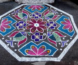 Rangoli: Rev's thai friday kolam.Fish with flower.