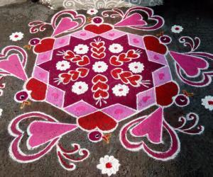 Rangoli: Rev's valentine rangoli. Happy valentine's day.