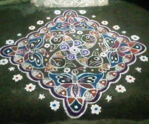 Rangoli: Rev's kolam on Radha's dots & clue.