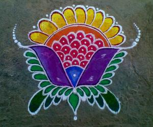 Simple Fancy Flower Rangoli