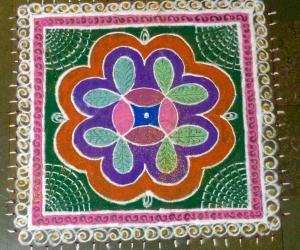 Rangoli: Srirangam Krishna jayanthi kolam