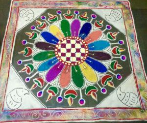 Rangoli: Diwali kolam with colourful lamp