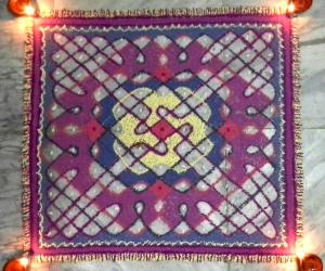chikku square mat rangoli for holi with 11-11 straight dots