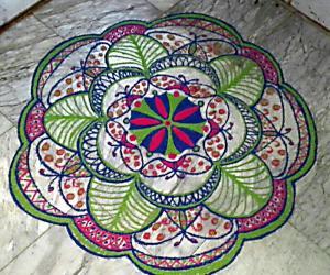 Rangoli: freehand rangoli  with colours