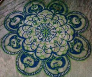 freehand rangoli with colours from margazhi collections