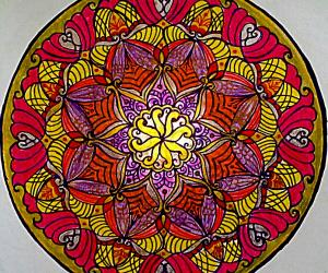 Mandala with colour pencils and glitter pens