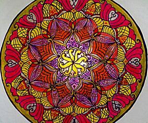 Rangoli: Mandala with colour pencils and glitter pens