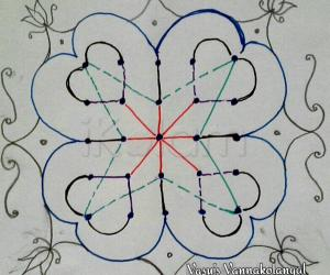 Rangoli: Dotted version for my freehand rangoli 5-5 straight dots
