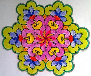 Dotted Rangoli with 15-8 interlaced dots