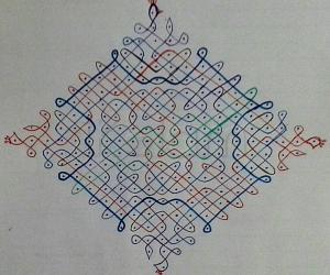 Rangoli: chikku kolam with 21-1 straight dots
