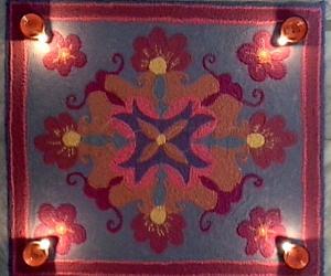 Rangoli: Designer mat rangoli with 11-1 straight dots