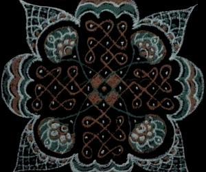 Rangoli: Chikku kolam with 9 dots 3 lines, 5 dots 1line, 3dots 2 lines.