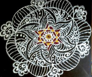 Inspirational  Star Kolam in my pooja slab