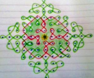 Chikku kolam with 13-1 straight dots.