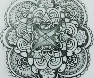 A freehand  mandala  on  paper  with  pencil