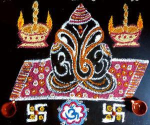 Simple Ganesha kolam with rice flour, haldi, Kumkum.
