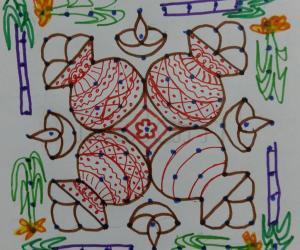 Dotted pongal rangoli paper version 11-11 straight dots.