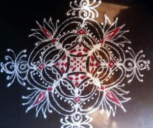 Day 7 Navarathiri Padi Kolam with White  and red colour