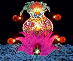 Happy Lakshmi Pooja/ Dhanderas - Freehand Kolam with  colours