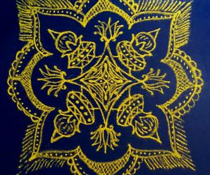 Happy Bhogi to all.  Margazhi Day 29 Kolam - A freehand Padi kolam design with yellow colour on  blue plastic cover.