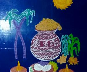 Happy Pongal to all  - My special kolam for pongal with colours.