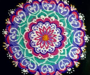 Freehand rangoli with colours