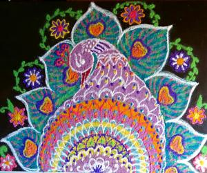 Rangoli: HOLI SPECIAL RANGOLI - Peacock with Flowers.