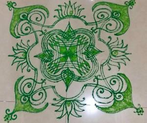 Rangoli: NAVARATHIRI Day 7 Padi Kolam in Green Colour