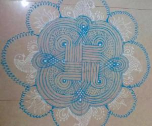 Navarathiri Day 10 Padi Kolam in Sky blue colour