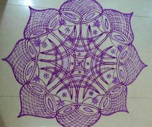 Navarathiri Padi Kolam in Purple Colour