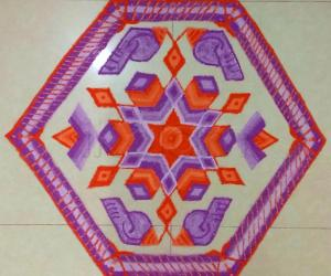 Diwali Rangoli - 13-6 interlaced dots.