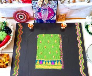 NAVARATHIRI KOLAMS 2018 - Day 3 - GREEN - SAREE RANGOLI