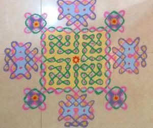 Chikku Kolam with colours - Margazhi Kolam Day 3