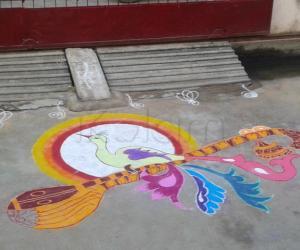 Rangoli: annam in veena rangoli