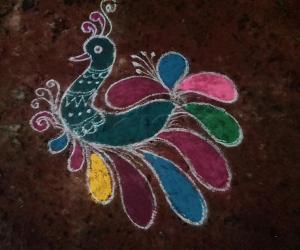 Rangoli: Margazhi mini peacock