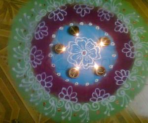 deepavali rangoli with diya