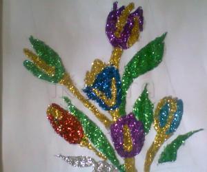 flowers in glitters