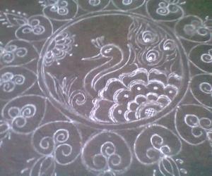 aadi velli 3 peacock rangoli