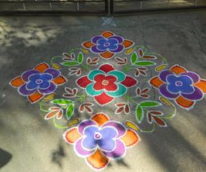 beautiful flowers rangoli