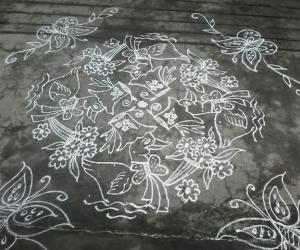 Rangoli: Ducks with boaque...