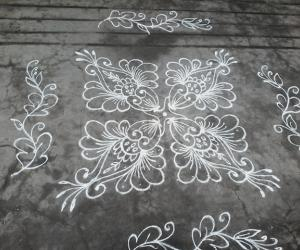 Daily ....Dotted kolam, different flowers