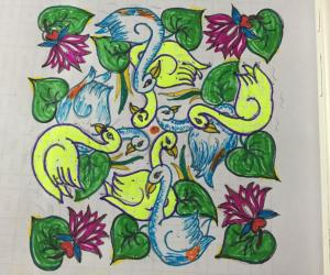 Rangoli: swans kolam,with 15-7 DOTS