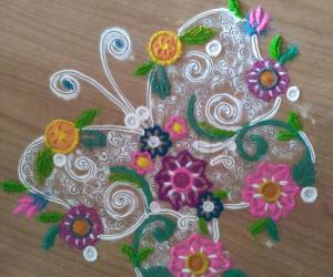 Rangoli: Floral butterfly rangoli