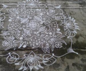 sriramanavami kolam with 14 -14 dots