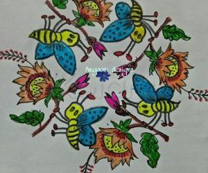 Rangoli: Bees and flies..