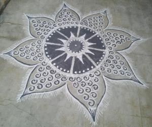 Rangoli: Happy Navatathri to all;day1;color-Grey...