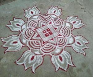 Double line kolam! my first try!
